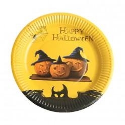 "Тарелки 18см Хэллоуин ""Три тыквы"" 10 шт, бумага"