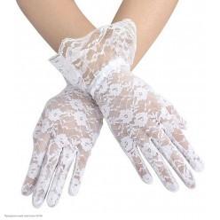 Перчатки Гипюр Мини (кисть) с оборкой 27см белые