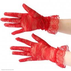 Перчатки Гипюр Мини (кисть) с оборкой 27см красные
