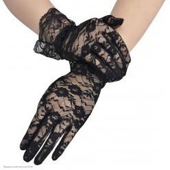Перчатки Гипюр Мини (кисть) с оборкой 27см чёрные