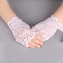 "Перчатки Гипюр ""роза"" без пальцев Мини 15см белые"