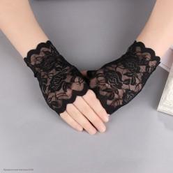 """Перчатки Гипюр """"роза"""" без пальцев Мини 15см чёрные"""