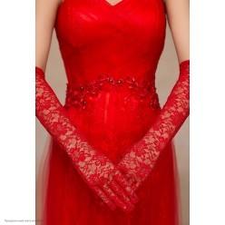 Перчатки Гипюр Миди (по локоть) 44см красные