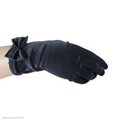 Перчатки Атласные Мини с бантиком 23см чёрные