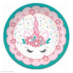"""Тарелки """"Единорог"""" Pink&Tiffany 18см 6шт, бумага"""