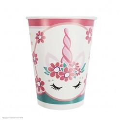 """Стаканы """"Единорог"""" Pink&Tiffany 200мл 6шт, бумага"""