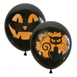 """Шар чёрный """"Хэллоуин"""" 2ст/рисунок 12""""/30см"""