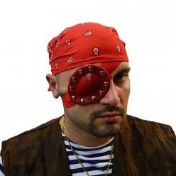 Повязка на глаз с клёпками красная (латекс, металл) 8*7 см