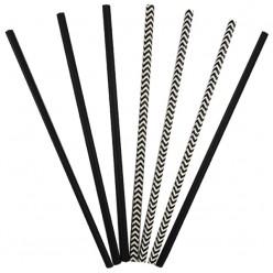 Трубочки для коктейля бумажные Чёрные 12 шт