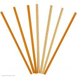 Трубочки для коктейля бумажные Оранжевые 12шт