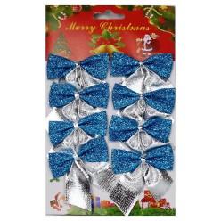 Бантики НГ голубые 6*6см (металлик, блеск) Набор 8шт