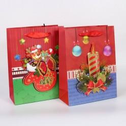 Пакет подарочный НГ 18*24см объём/блёстки (бумага)