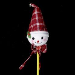 Снеговик голова на палке, светится (пенопласт) 52*9см