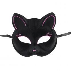 Маска Кошечка чёрная с блёстками (пластик) 14,5*17см