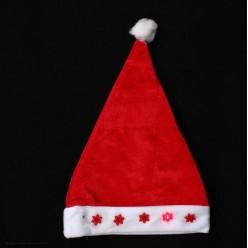 Колпак новогодний мигающий Снежинки (велюр, флис) 40*29,5см