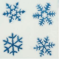 Наклейки на стекло гелевые Снежинки синие 4шт 6,5*7см