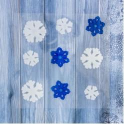 Наклейки на стекло гелевые Снежинки сине-белые 9шт