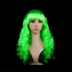 Парик Локоны с чёлкой, 60 см (зелёный)