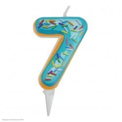 Свеча-цифра 7 Пончик 6см