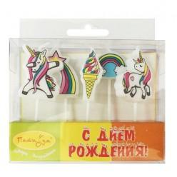 """Свечи-фигурки для торта """"Единороги"""" 5 шт, 3,6см"""