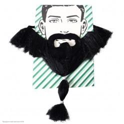 Борода Чёрная с косичкой 30см (на резинке)