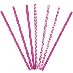Трубочки для коктейля бумажные Ярко-розовые 12шт