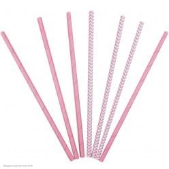 Трубочки для коктейля бумажные Розовые 12шт