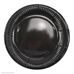 Тарелки чёрные 18см 6шт, бумага