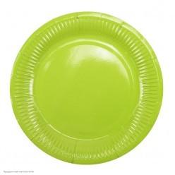 Тарелки зелёные 18см 6шт, бумага