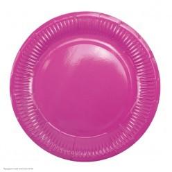 Тарелки ярко-розовые 18см 6шт, бумага