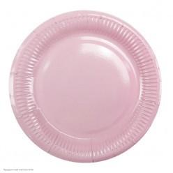 Тарелки розовые 18см 6шт, бумага