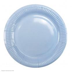 Тарелки светло-голубые 18см 6шт, бумага