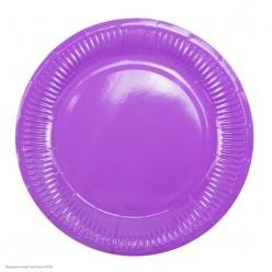Тарелки фиолетовые 18см 6шт, бумага