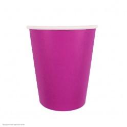 Стаканы ярко-розовые 250мл 6шт, бумага