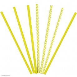 Трубочки для коктейля бумажные Жёлтые 12шт