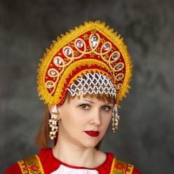 """Кокошник """"Ангелина"""" красный с золотом"""