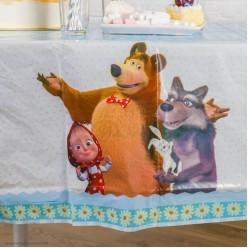 """Скатерть """"Маша и Медведь"""" ромашки 130*180см (клеёнка)"""