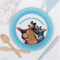 "Тарелки ""Маша и Медведь"" ромашки, 23см 6шт, бумага"