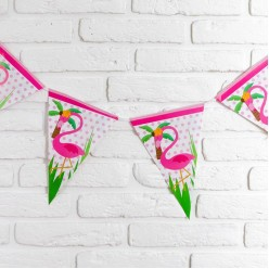 """Гирлянда-вымпел """"Фламинго"""" розовый 2,5м, 19*28см (бумага)"""