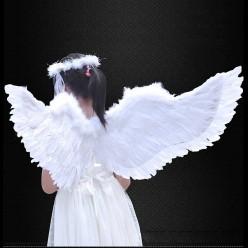 Крылья Ангела белые 80*40см (перо, картон)